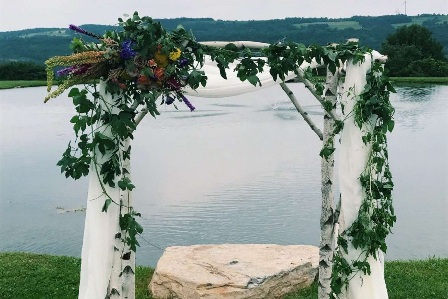 wedding arch of birch, drapes, greenery