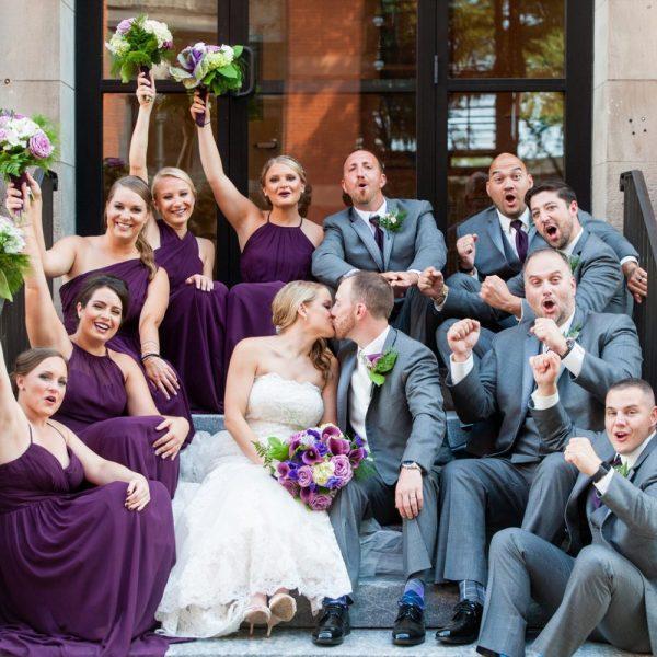 bride, groom, wedding party
