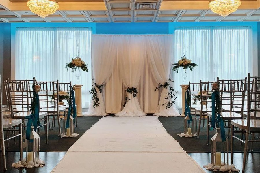 winter ceremony venue aisle and chairs