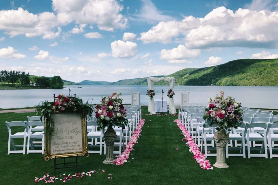 outdoor wedding with floral decorations