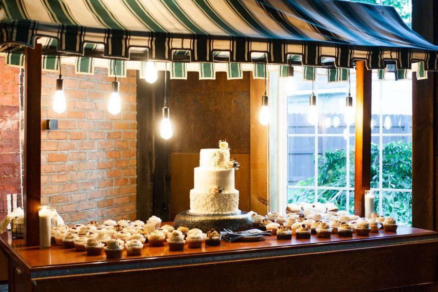 industrial wedding venue dessert display