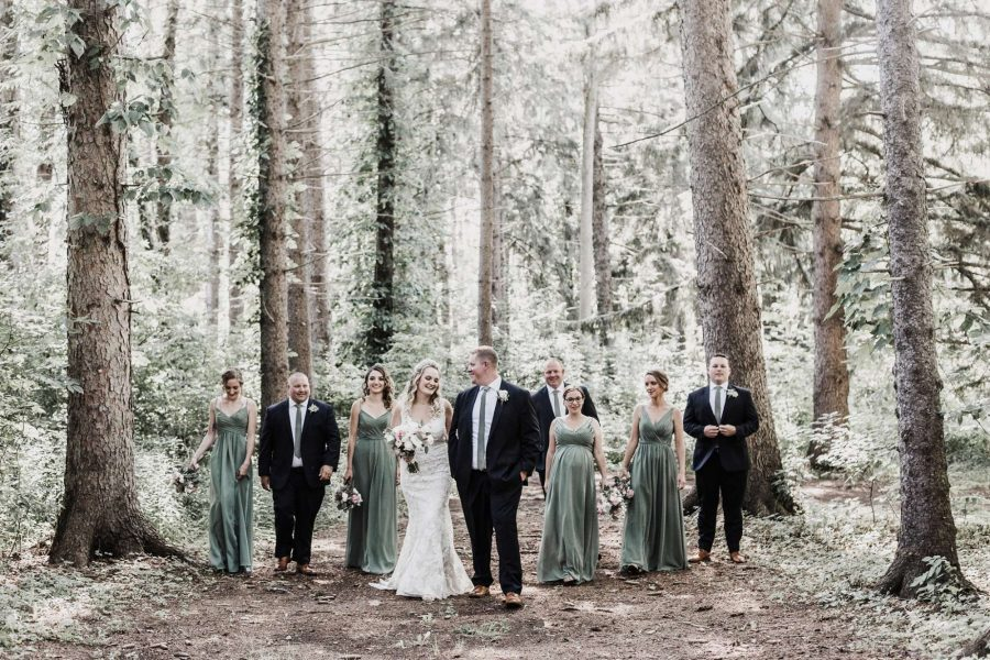 wedding party in the forest