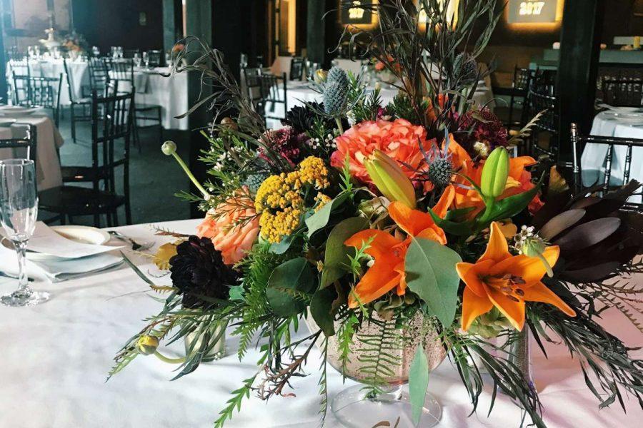centerpiece with orange flowers