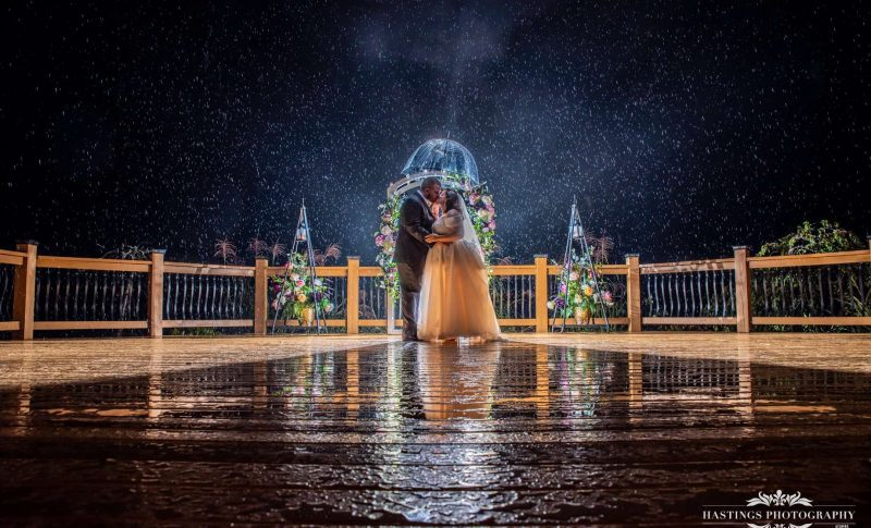 bride and groom under night sky