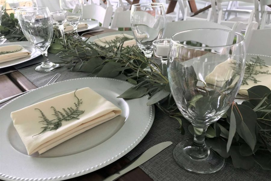 wedding reception greenery table runner