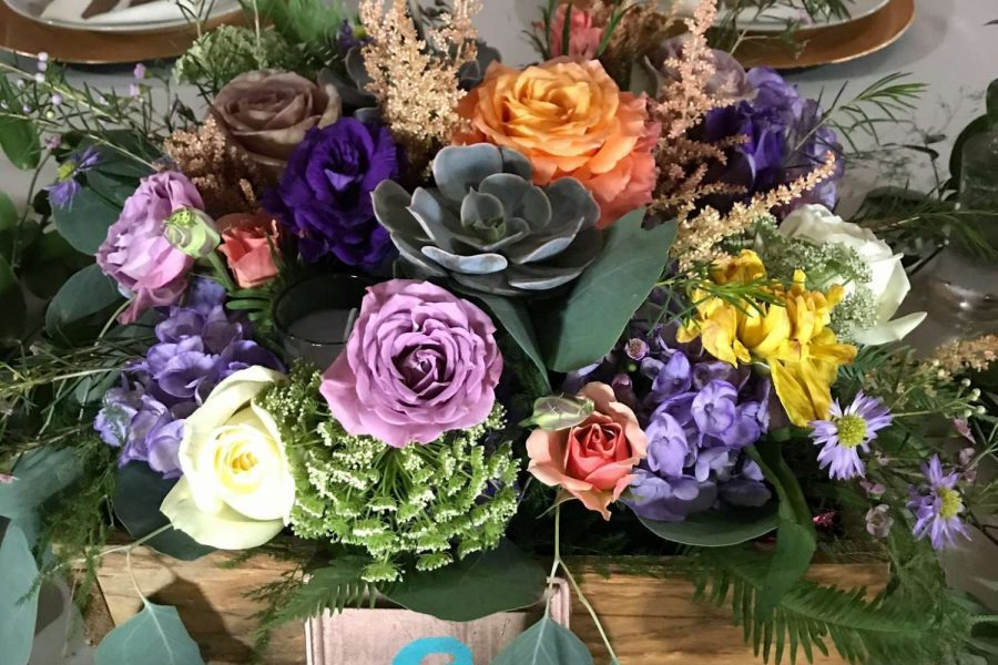 low centerpiece of bright flowers