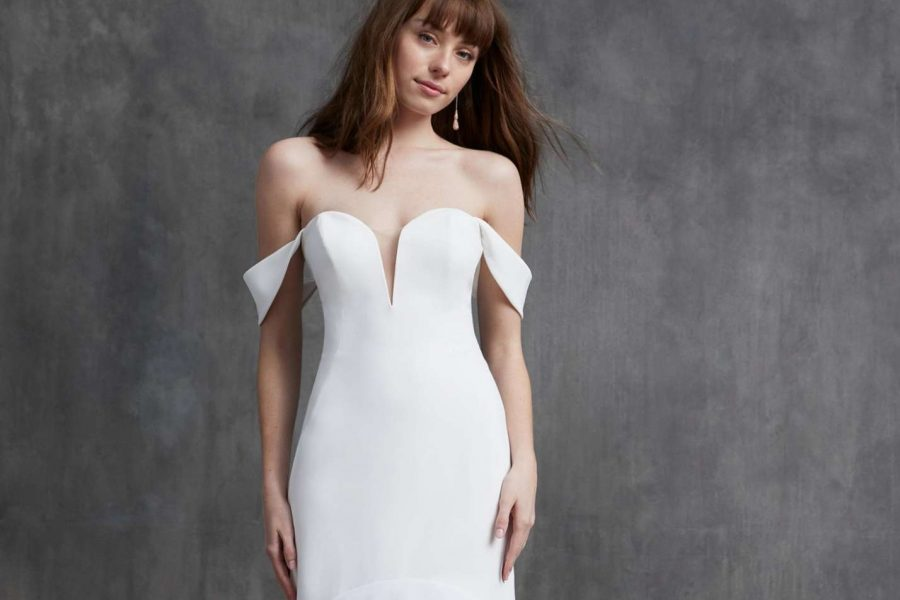 wedding dress with off-the-shoulder sleeves