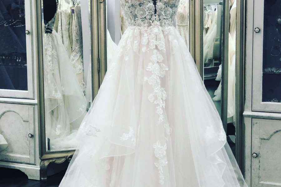 wedding dress with detailed top