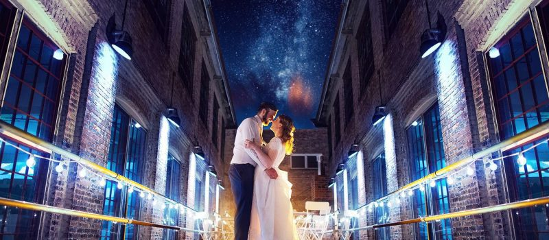 bride and groom under the stars