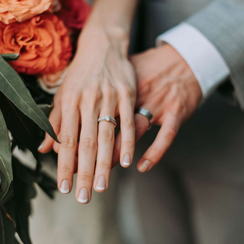 bride and grooms hands with rings