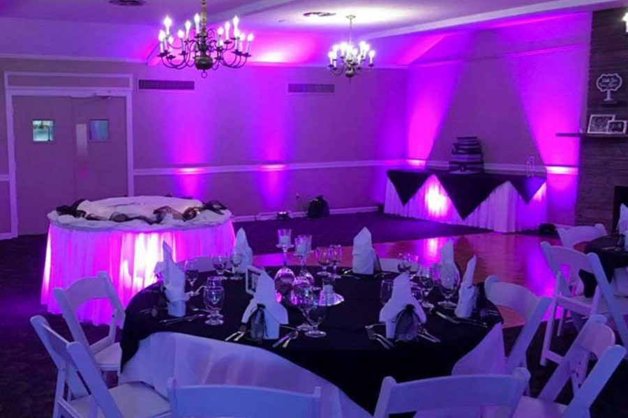 purple colored uprights at a wedding