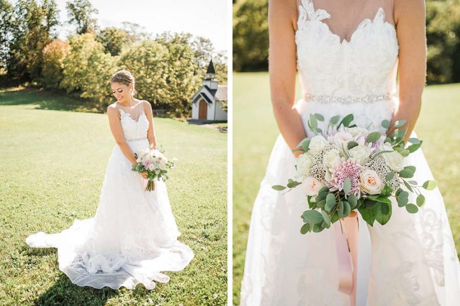bride holds wedding flowers and greenery