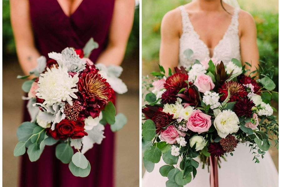 women hold big bouquets of assorted flowers