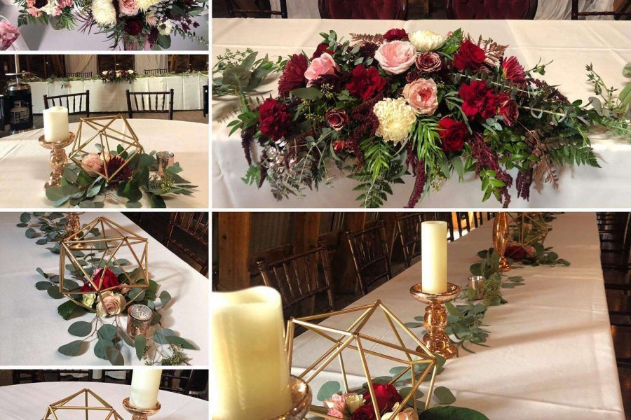 Flowers and decor decorate wedding tables