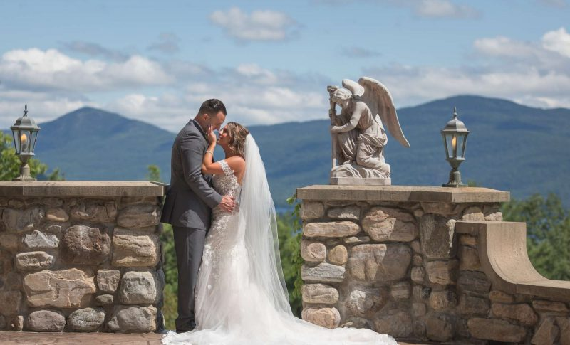 bride and groom at fairytale castle in Central New York